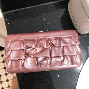 Handbags - Pink Ruffle Wallet.